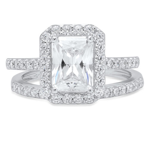 2.4CT Emerald Cut Engagement Bridal Solitaire Pave Ring Band set 14k White Gold