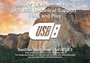 SANDISK 64GB USB Stick Plug & Play macOS X 10.10 Yosemite PRE-INSTALLED