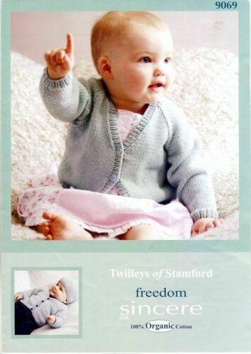 "Twilleys Knitting Pattern 9069 Baby Cardigan Hat DK Organic Cotton 16-22/"" NEW"