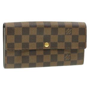 LOUIS-VUITTON-Damier-Ebene-Portefeuille-Sarah-Long-Wallet-N63209-LV-Auth-14932