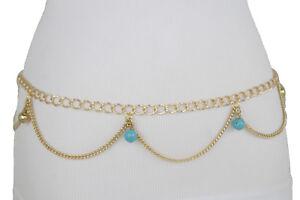 Women Silver Metal Chain Fashion Belt Hip High Waist Blue Flower Charms XS S M