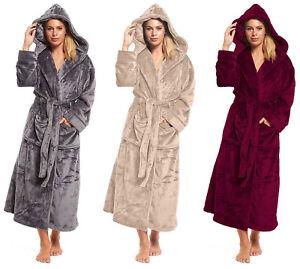 942cb1d012 Long Fleece Dressing Gown Ladies Womens Length Luxury Hood Winter ...