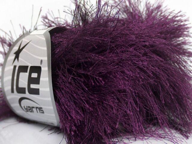 38Yd Dark Red Extra Long Eyelash Yarn #42079 Ice Luxurious New Fun Fur 50 Gram