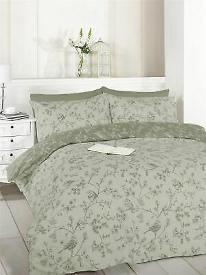 French Bird /& Flowers Floral Toile Taupe Grey Double Duvet Cover Set