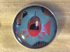 "Charley Harper Lg Mouth Bass Fish Sewing Button 1"" Mid Century Mod Charles CH230"