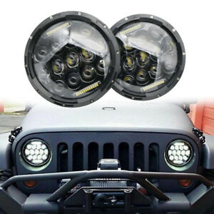 Pair-Black-7-Inch-E9-Approved-LED-Headlight-LAND-ROVER-DEFENDER-TD4-TD5-90-110