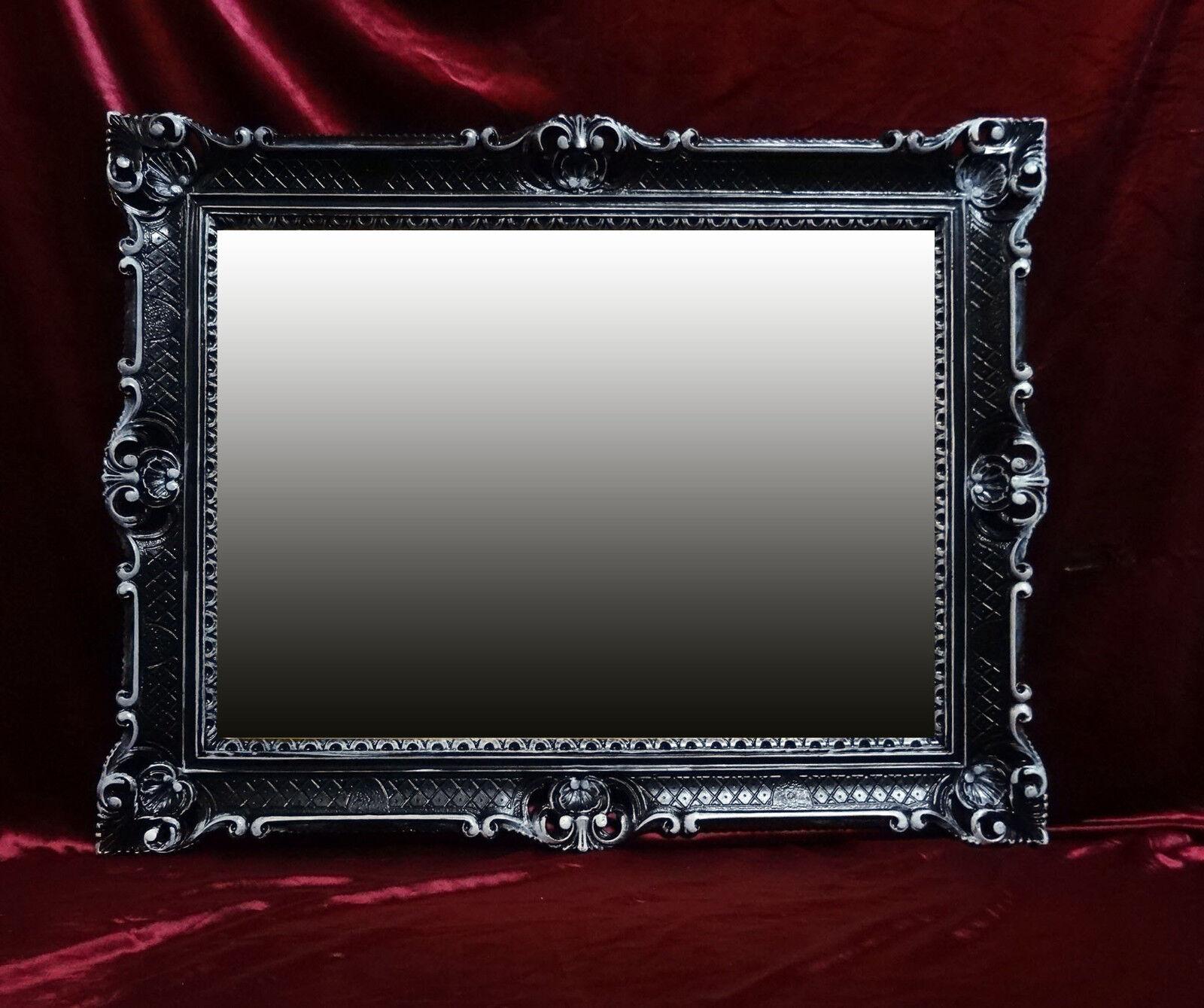 MIROIR MURAL NOIR BLANC ANTIQUE BAROQUE ROCOCO 90x70 cm décoration REPRO