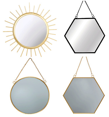 Sass Amp Belle Hanging Round Gold Mirrors Black Hexagon
