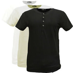 T-shirt-uomo-manica-corta-Maglietta-Girocollo-Tinta-Unita-Serafino-con-Bottoni