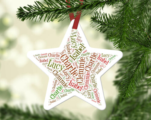 Personalised Family Xmas Names White Christmas Star Ornament Decoration Gift