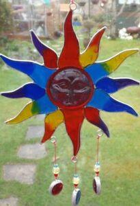 MULTI-COLOUR-SUN-SUN-CATCHER-21-cm-STAINED-GLASS-EFFECT