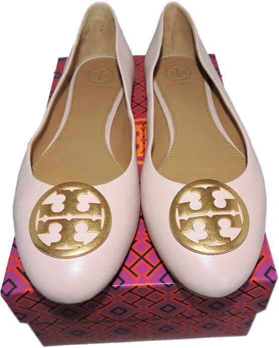 Tory Burch Reva Bailarina pisos logotipo dorado dorado dorado Benton Zapato de ballet 9.5 Cuero rosado b92aa2