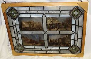 Vintage-Hand-Made-Leaded-amp-Stained-Glass-Panel-w-Victorian-Style-Diamonds