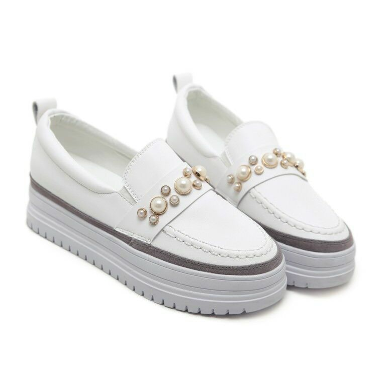 Women Round Toe Platform Wedge Heels Beads Slip On shoes Athletic Loafers new