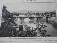 Kachmir Pont de Srinagar et mosquée de Shah Hamadan Image Print 1905