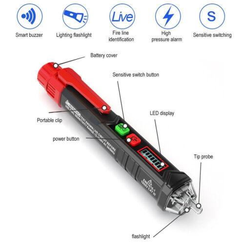 12V-1000V Berührungsloser AC-Spannungsprüfer Stromprüfer LED Phasenprüfer Licht