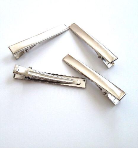 20 pcs Silver Tone Hair Clip Prong Teeth Bow Alligator Clips Comb Barrette 3H