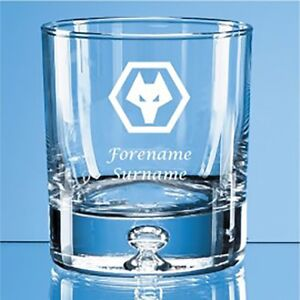 Wolverhampton Wanderers F.C - Personalised Bubble Base Whisky Tumbler (CREST)