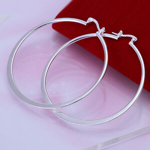 925-Sterling-Silver-Filled-55mm-Large-Hoop-Ladies-Dangle-Solid-Earrings-jewelery