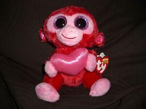 DéVoué W-f-l Ty Boos Charming Singe Coeur 15 Cm Gloubinours Boo 's Saint Valentin Glitzerauge-afficher Le Titre D'origine