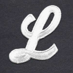 letter applique iron on letters white script 2 quot letter quot l quot iron on embroidered 8204