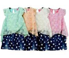 Mädchen Kleid Jeans Optik Sommerkleid Spitze Denim Party Kleid mit Sternen Stern