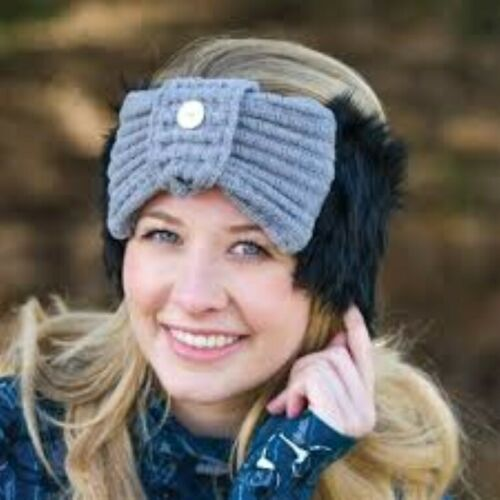 Black with Grey Knit SALE Faux Fur Knot Headband Equetech One Size