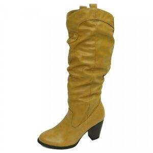 Ladies Tan Knee Knee Tan High Leder Look Ruched Cuban Heel Damenschuhe Stiefel ... 3c93c2