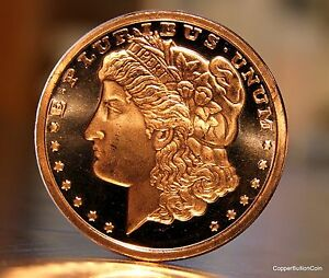 1 Silver Morgan Dollar Style 1 Oz 999 Fine Copper Bullion