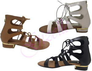 WOMENS-LADIES-LACE-UP-CROSS-OVER-WRAP-AROUND-STRAPPY-GLADIATORS-SANDALS-SIZE-3-8