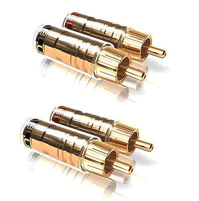 2 Paar (4 Stück) ViaBlue TS Cinchstecker für Kabel bis 8mm -zum Löten, vergoldet