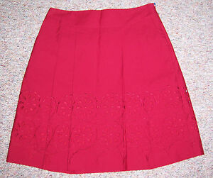 53bc2341b0 ANN TAYLOR LOFT Dark Red Knee Length Full Skirt Eyelet Embroidery ...