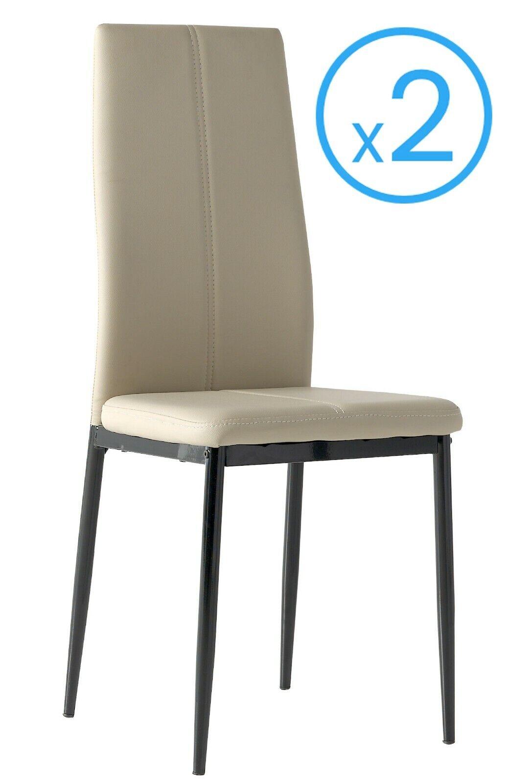 Detalles de 2 sillas polipiel Brea color capuchino comedor salon y estilo  moderno 98x42x47