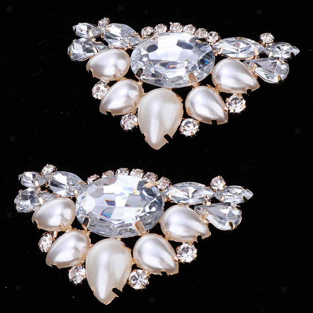 2x Diamante Flower High Heel Shoe Clips Charms Decor Faux Pearl Shoe Buckle