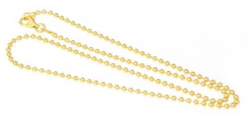 Silberkette 925 massiv 2 mm Kugelkette Gold oder Rotgold 38 42 50 60 70 80 90 cm