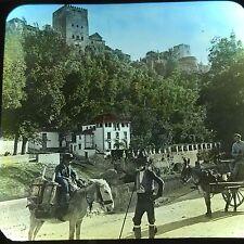 Vtg Magic Lantern Glass Slide Photo Spanish Boy On Donkey Castle Color