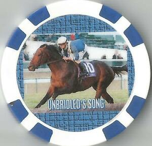 **UNBRIDLED'S SONG** HORSE RACING COLLECTOR CHIP