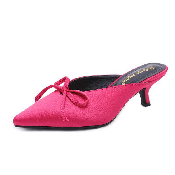 Sandale stiletto eleganti sabot  rosa fiocco ciabatte simil pelle eleganti 1069