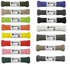 550lb Polyester Paracord 100 Feet 7 Strand Cordage Parachute Paracord All Colors