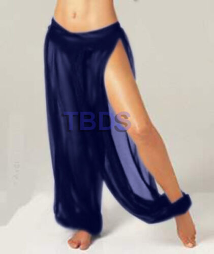 NAVY BLUELady Women Chiffon Slit Harem Pant Yoga Pleated Waist Belly Dance