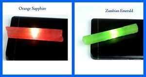 Natural Orange Sapphire & Zambian Emerald Gemstone Slice Rough 120 Ct+ Pair