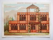 """Chromo """"Maison de la belle jardinière Exposition universelle de 1878 Etats Unis"""""""