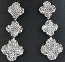 "Clover Leaf Drop 3"" Earrings Van Cleef Alhambra Style Silver Plated Pave Crystal"