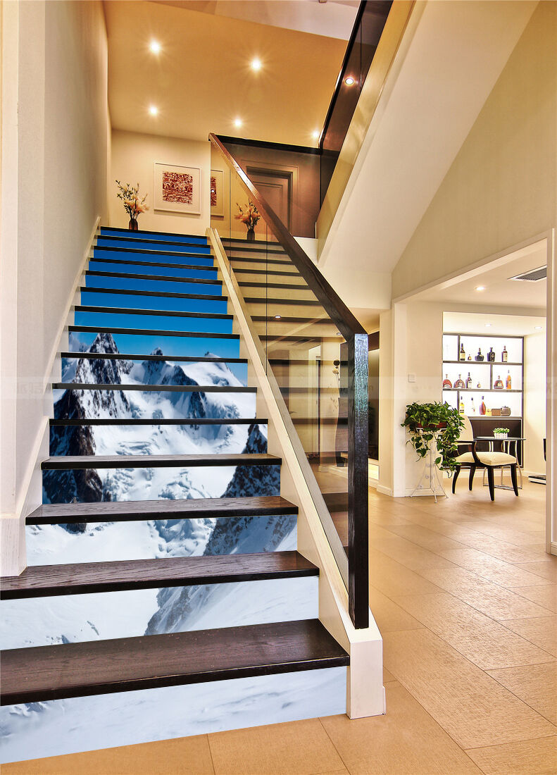 3D Snow Mountains 2 Stair Risers Decoration Photo Mural Vinyl Decal Wallpaper AU