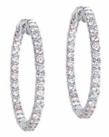 "3 carat 14k White Gold Round cut Diamond Hoop Earrings 1.25"" 60 x 0.05 ct G SI1"