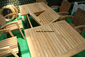 High grade TEAK WOOD Garden Set with 6 Chairs and extendable table ...