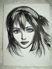 Canvas Painting Final Fantasy Serah Face B&W 16x12 inch Acrylic