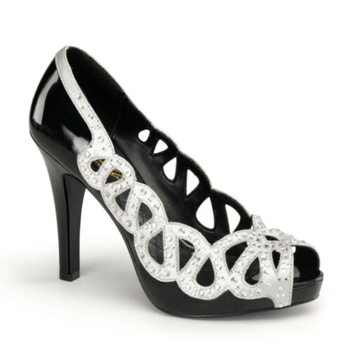 """Details about  /PIN UP COUTURE Ava-12 4 1//2/"""" Heel Open Toe Pumps"""