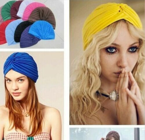 Indian Style Caps Slouch Hat Stretchable Turban Hair Head Wrap Women Headwears