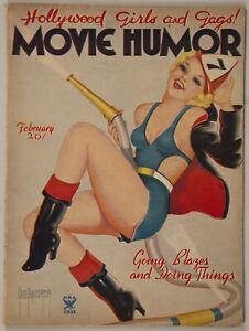 February 1935 Movie Humor Magazine Firefighting Flapper George Quintana Cover